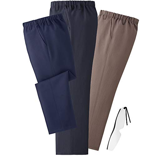 (エムアイジェイ)mij 日本製 お手入れ簡単 楽々パンツ 3色組 WA-1017 しおり型ルーペ付き (LL股下70cm)