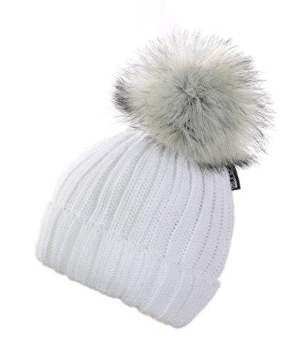 Miuno® Bonnet à pompon en fourrure synthétique avec doublure en peluche MJ163. - Blanc - Taille Unique