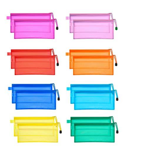 JM-capricorns 36pcs 9 x 4-1/2 inches Big Capacity Waterproof Plastic Double Layer Zipper File Bags zipper pouches Invoice Pouches Bill Bag Pencil Pouch Pencil Case Pen Bag (10 Colors)