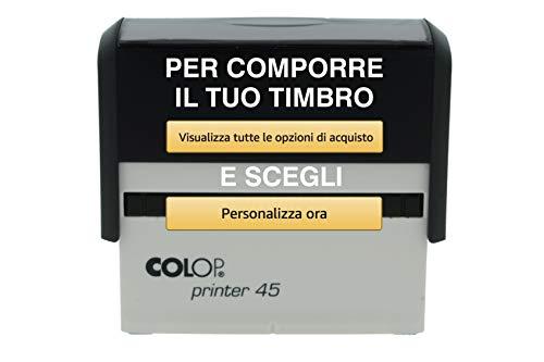 Timbro Personalizzato Autoinchiostrante Grande Superficie 6 Righe Scegli e Componi Online il Testo Colop Printer 45 Ufficio Scuola Lavoro
