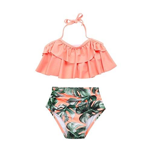 ? Amlaiworld Sommer Retro Blätter Druck Bikini Set Mädchen Baby Strand rüschen BH bademode Mode Kinder Band Schwimmen badeanzüge,1-8 Jahren (8 Jahren, Rosa)