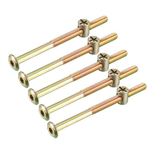M6x90mm Juego de tuercas de perno para muebles Tornillo hexagonal 56,7mm Longitud de rosca con tuercas de barril para camas Cabeceros Sillas 5 juegos