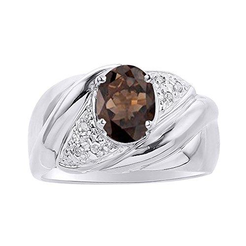 Diamond & Smoky Anillo de cuarzo en oro blanco de 14 quilates – piedra de color Anillo de nacimiento