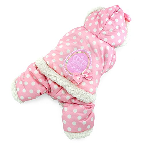 SELMAI Polka Dots Hooded Warm Pet Fleece Jumpsuit Puppy Winter Snowsuit Small Dog Cat Coat Jacket Pjs Outfits Chihuahua Clothes Apparel Pink M