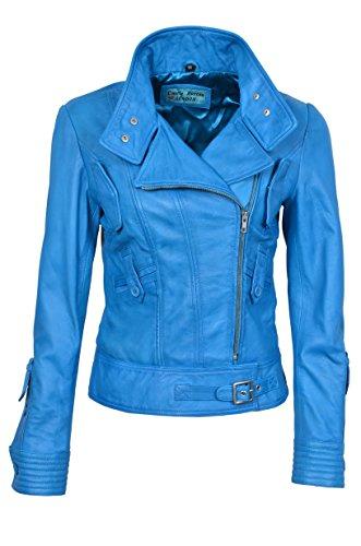 Smart Range Supermodel Damen blau Biker Stil Designer Echt Nappa italienischen Lederjacke (12, Blue)