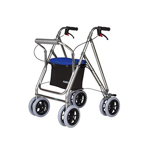 Andador para ancianos, Rollator de aluminio, Andador on frenos y asiento, De aluminio plegable, Color azul