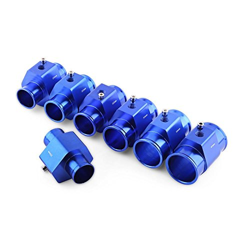Qiilu Universal Metall Auto Wassertemperatur Joint Rohr Schlauch Temperatursensor Adapter Blau(32mm)