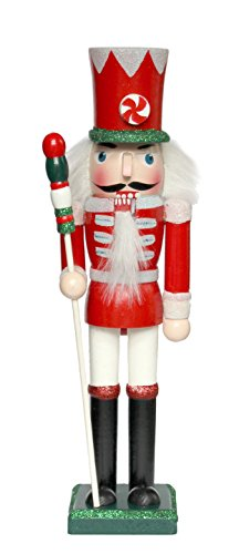 Buzz Tradizionale schiaccianoci Natalizio in Legno a Forma di Soldato, Colore Rosso, Verde e Bianco–Christmas Glitter Dettaglio–24cm