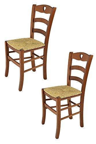Tommychairs - Set 2 sedie modello Cuore per cucina bar e sala da pranzo, robusta struttura in legno di faggio color noce chiaro e seduta in paglia