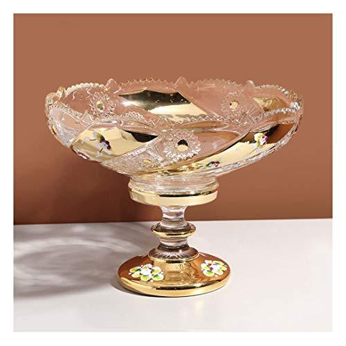 TongN Plato de fruta creativo de cristal alto grande de la fruta de la sala de estar de la mesa de café decoración del