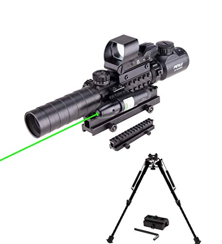 Pinty Rifle Scope 3-9x32 Rangefinder Illuminated Reflex Sight 4 Reticle Green Dot Laser Sight&Rifle Tactical Bipod Adjustable 9-13 Inch with Picatinny Rail System Adapter