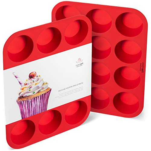 OvenArt Bakeware Silicone Muffin Cupcake Pan 12-Cup 2-Pack