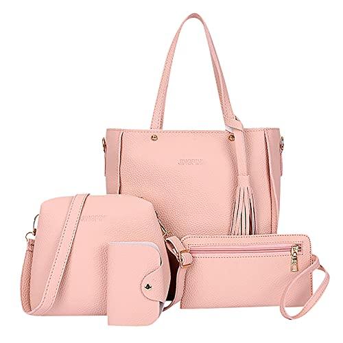 XOXSION 2021 Bolso de mano para mujer, juego de 4 bolsos de mano, bolso de piel, bolso bandolera, monedero, tarjetero, bolsa de la compra, bolsa de regalo a rosa Talla única