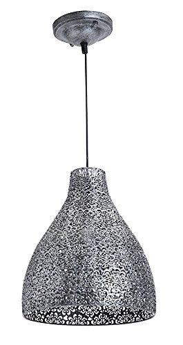 LUSSIOL Luminaire Zephir, suspension métal, 40 W, gris, ø 28 x H 32 cm