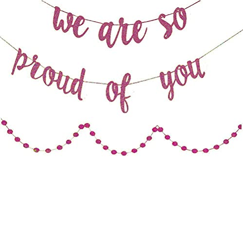 Graduation Decorations,Graduation Party Supplies 2020 We are So Proud of You Banner, with Rose Gold Glittery Circle Dots Garland, Congratulations Banner,Congrats Banner
