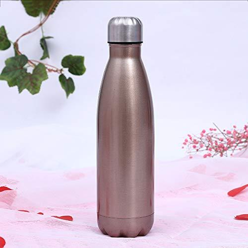 Simmia Sport Sportflasche Thermosflasche Thermoskanne Trinkflasche Wasserflasche Isolierflasche,Sportflasche Bowling 304 Isolierung Kaltwasserflasche Colaflasche, Gold, 1000ML