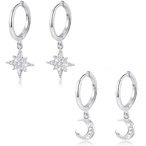 Milacolato 2 Pairs 925 Sterling Silver Moon Star Dangle Hoop Earring CZ Drop Huggie Cartilage Cute Earring Set for Women