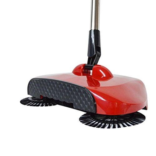 Vovotrade vloerstofzuiger 360 draaibaar Home Use Magic handmatig reinigingsgereedschap voor thuis telescopisch stille bezem (rood)