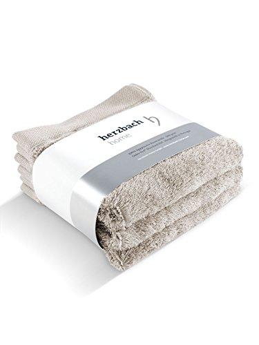 herzbach home Seiftuch 30x30 cm 3er-Set Premium Qualität aus 100{50323a0a7a27e5c63f8508980c76fa99a32bc85cca8a5e889508ca343c8c89ca} ägyptischer Baumwolle 600 g/m² (sandgrau)