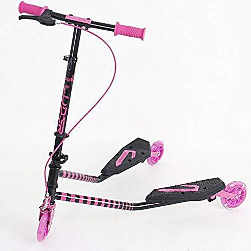 CYGJ Acero Carbono Patinete Frocen con 3,Rosado Plegable Tabla Scooter Freestyle para Uso de Niños de 5 a 14 Años