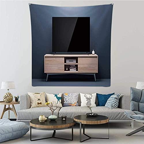 Maqueta de Smart TV con Pantalla Negra Brillante en la Consola de la Sala de Estar en Alemania, Tapiz para Colgar en la Pared, televisor, Arte de Pared para Dormitorio