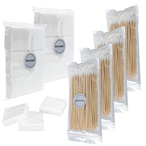 PINGMIC Gun Cleaning Supplies, 2'' Gun Patches 600PCS and 6'' Gun Swabs 400PCS - Less Fluff Gun Cleaning Patches Swabs More Suitable for 30 .308 .270 Calibers, Pistol Rifle Cleaning Kit 7.62/ 9mm