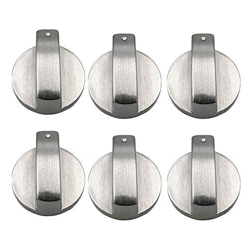 Bestine Perillas de Cocina, 6 MM Metal Perillas Estufa Gas Plateadas Perillas de Repuesto Accesorios para Cocina Horno de Cocina Gas,6PCS