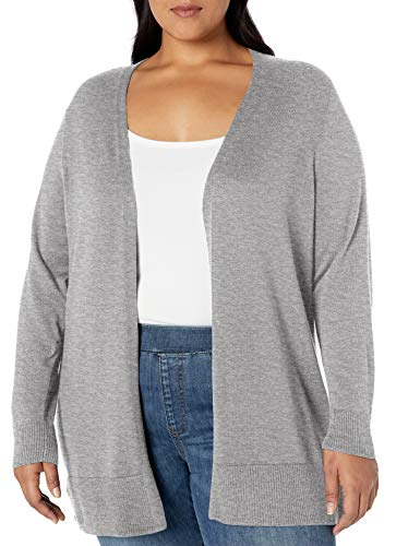 Amazon Essentials Plus Size Lightweight Open-Front Sweater cardigan-sweaters, Hellgrau (Light Grey Heather), 2X