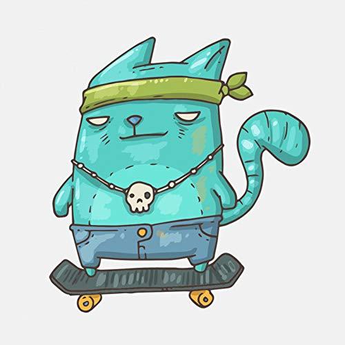 GQQ auto sticker 12,5 cm * 13,2 cm kat staande op een skateboard pvc motorfiets bumper sticker beste geschenken voor automobilisten A