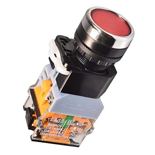 LA38 Maschinen Schalter Taster Druckschalter Drucktaster Industrie Beleuchtet Tastend/Rastend (Tastend Rot)