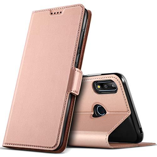 GEEMAI für Asus Zenfone max Pro M2 Hülle, handyhüllen Flip Hülle Wallet Stylish mit Standfunktion & Magnetisch PU Tasche Schutzhülle passt für Asus Zenfone max Pro M2 Smartphone, Rosegold