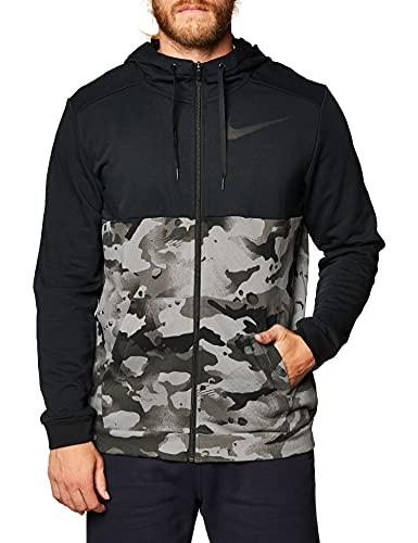 Nike Herren Dry Full Zip FA Camo Kapuzensweatshirt, Black/Iron Grey/Grey Fog, M