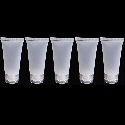 5 tubes de voyage en plastique pour crème, lotion givré 20 ml