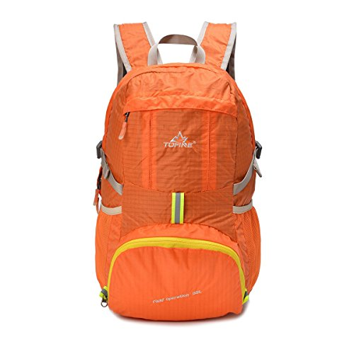 TOFINE Portable Backpack Large Travel Light Weight Foldable Waterproof Backpack Camping Hiking Gear 35L for Adult Men and Women Orange