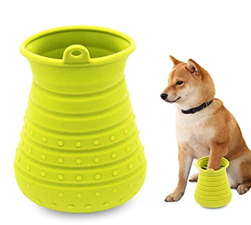 Idepet Pulisci Zampe Cane,Spazzola per Animali Domestici Portatile con Asciugamano Dog Cleaner per Zampe per Cani Gatti Massaggio Toelettatura Artigli Sporchi Verde