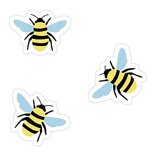 MONKEYSTYLE (3 PCs/Pack) 3 Bees for Price of 1 Die-Cut Stickers Decals for Laptop Window Car Bumper Helmet Water Bottle