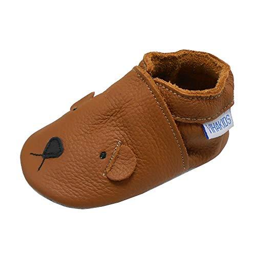 YIHAKIDS Chaussures Bébé Filles Garçons Cuir Souple Enfant Chaussons Cuir Doux Chaussures Premiers Pas Chien de Dessin animé Size XL(Marron,18-24 Mois,24/25 EU)
