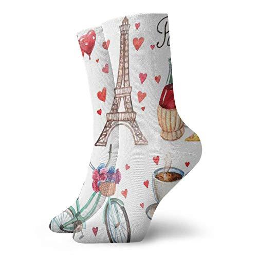 Calcetines suaves de media pantorrilla, con ilustración de corazones de la Torre Eiffel, vino tinto y café, perfume, para mujeres y hombres, ideales para correr