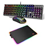 Havit Mechanical Gaming Keyboard Mouse and Mouse Pad for PC Games Laptop Computer
