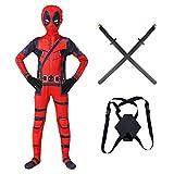 KIDsportxie Costumi Deadpool Adulti Bambini 3D Stampato Cosplay È Dotato di unità di Elaborazione Spade Bambini Body Halloween Party Tuta Performance del Partito di Tema,Kids/XXL(140~149CM)