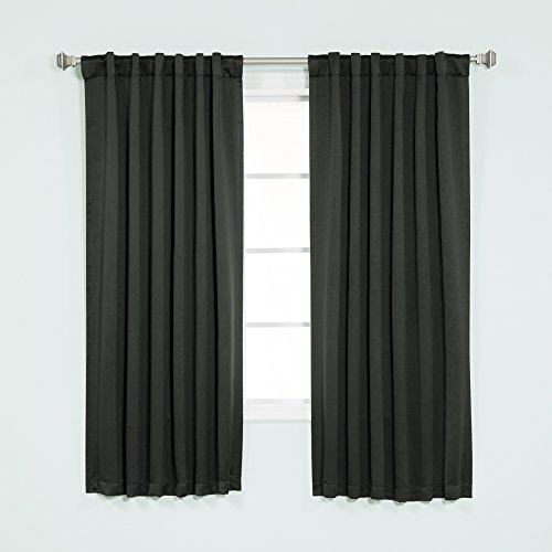 Best Home Fashion Basic Thermal Insulated Blackout Curtains - Back Tab/ Rod Pocket - Black - 52' W x 63' L (Set of 2 Panels)