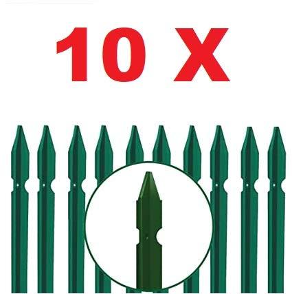 10 PZ Palo paletto in ferro a T 30x30x3 mm plastificato verde per rete recinzione metallica TUTTE LE MISURE - MADE IN ITALY (H 225 cm)