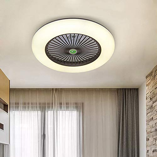 KWOKING Lighting Modern Ceiling Light and Fan with Remote Control 22 inch Invisible Acrylic Dimmable Lighting Fan Adjustable Speed for kids Bedrooms Workout Room in Black