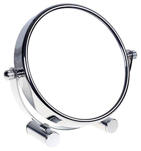 HIMRY Miroir cosmétique sur Pied, Grossissement x10, Compact Miroir de Table, 6 inch, orientable sur 360°, 100% et 1000%, Chrome, Miroir de Ø 15,3 cm, KXD3142-10x