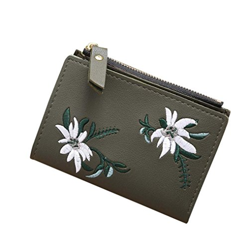 Paymenow Wallets for Women Girls Clearance Women Cute Embroidery Short Wallet Fashion Zipper Pocket Coin Purse Card Holders Handbag (Army Green)