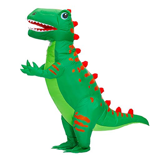 Kooy Inflatable Dinosaur T-REX Costumes Fancy Costume Halloween Party Cosplay Fantasy Blow up Costume Adult Green