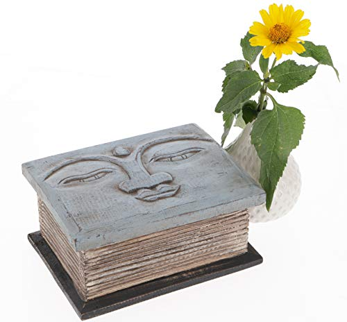Guru-Shop Gesneden Kleine Kist, Houten Kist, Houten Kist met Boeddha Hoofd, Wit, Suarholz, 9x18x13 cm, Blikken, Dozen Kisten