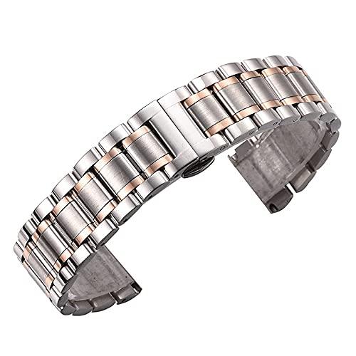 ZHANGXXX Uhrenarmband Zubehör Five Bead Butterfly Schnalle Unisex EdelstahlarmbandUhrenarmband Wasserdichtes Design Armband,C-12mm