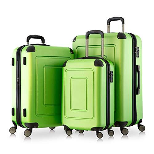 Happy Trolley - 3er Koffer-Set Trolley-Set Rollkoffer Hartschalen-Koffer Reisekoffer Lugano sehr leicht, TSA, (S, M & XL), Grün