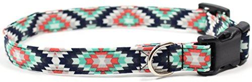 Ruff Roxy Aztec Summer Black and Turquoise, Designer Cotton Dog Collar, Adjustable Handmade Fabric Collars (Medium (Skinny))